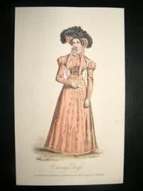 Lady's Magazine 1824 H/Col Regency Fashion Print. Carriage Costume 53