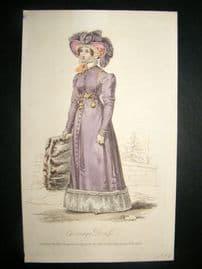 Lady's Magazine 1824 H/Col Regency Fashion Print. Carriage Dress 55