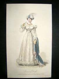 Lady's Magazine 1824 H/Col Regency Fashion Print. Evening Dress 52