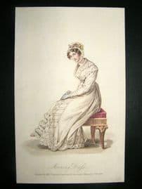 Lady's Magazine 1824 H/Col Regency Fashion Print. Morning Dress 54