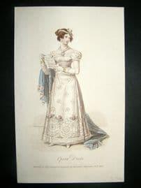 Lady's Magazine 1824 H/Col Regency Fashion Print. Opera Dress 51