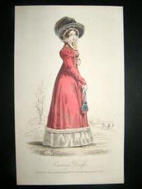 Lady's Magazine 1825 H/Col Regency Fashion Print. Carriage Dress 56