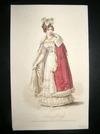 Lady's Magazine 1825 H/Col Regency Fashion Print. Evening Dress 57