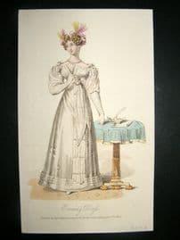 Lady's Magazine 1825 H/Col Regency Fashion Print. Evening Dress 59