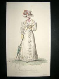 Lady's Magazine 1825 H/Col Regency Fashion Print. Marine Promenade Dress 60