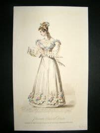 Lady's Magazine 1825 H/Col Regency Fashion Print. Private Concert Dress 58