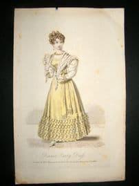 Lady's Magazine 1826 H/Col Regency Fashion Print. Dinner Party Dress 63