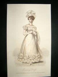 Lady's Magazine 1826 H/Col Regency Fashion Print. Evening Dress 61
