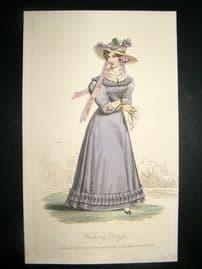 Lady's Magazine 1826 H/Col Regency Fashion Print. Walking Dress 64