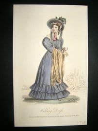 Lady's Magazine 1826 H/Col Regency Fashion Print. Walking Dress 65