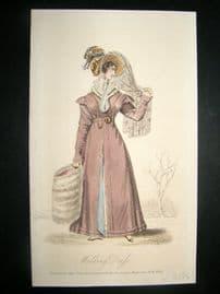 Lady's Magazine 1826 H/Col Regency Fashion Print. Walking Dress 66