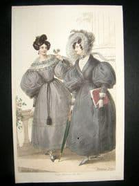 Lady's Magazine 1830 H/Col Fashion Print. Morning & Walking Dress 67
