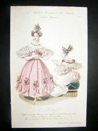 Lady's Magazine 1833 H/Col Fashion Print. Ball Dress 4