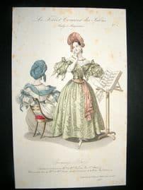Lady's Magazine 1833 H/Col Fashion Print. Evening Dress 1