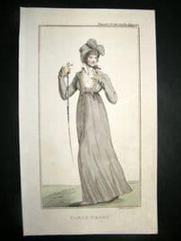 Lady's Magazine C1800 H/Col Regency Fashion Print. Paris Dress 03
