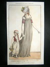 Lady's Magazine C1800 Hand Col Regency Fashion Print. Paris Dress with Child 01