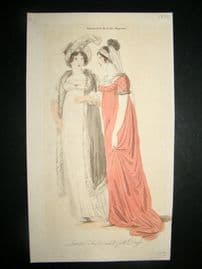 Lady's Magazine C1806 H/Col Regency Fashion Print. London Fashionable Dress 35