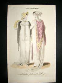 Lady's Magazine C1806 H/Col Regency Fashion Print. London Fashionable Dresses 33