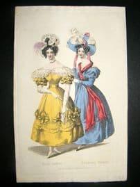 Lady's Magazine C1830 H/Col Fashion Print. Ball & Evening Dress 68
