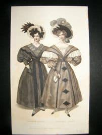 Lady's Magazine C1830 H/Col Fashion Print. Dinner & Evening Dress 70