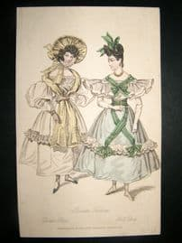 Lady's Magazine C1830 H/Col Fashion Print. Parisian Dinner & Ball Dresses 71