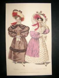Lady's Magazine C1830 H/Col Fashion Print. Walking & Carriage Dress 69