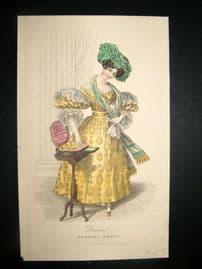 Lady's Magazine C1830 HC Fashion. Parisian Evening Dress 72. Heightened w/Gold
