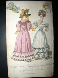 Lady's Monthly Museum 1828 Fashion. Carriage & Evening Dresses for Feb.