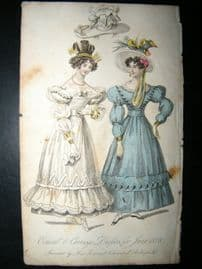 Lady's Monthly Museum 1828 Fashion. Concert & Carriage Dresses