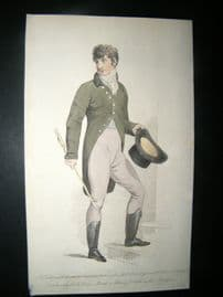 Le Beau Monde 1806 H/Col Regency Fashion Print Gentleman's Morning Walking Dress