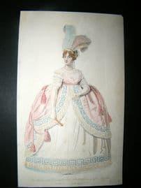 Le Beau Monde 1806 HC Regency Fashion Print Marchioness Townshend in Court Dress