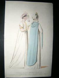 Le Beau Monde 1807 H/Col Regency Fashion Print. A Carriage & Full Dress