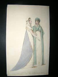 Le Beau Monde 1807 H/Col Regency Fashion Print. Carriage Dresses