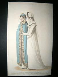 Le Beau Monde 1807 H/Col Regency Fashion Print. Carriage & Full Dress