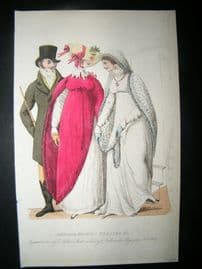 Le Beau Monde 1807 H/Col Regency Fashion Print. Carriage Walking Dresses etc
