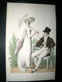 Le Beau Monde 1807 H/Col Regency Fashion Print. Couple in Morning Dresses