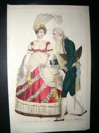 Le Beau Monde 1807 H/Col Regency Fashion Print. Court Dresses for Queen's B'day