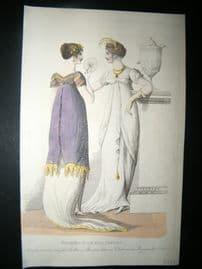 Le Beau Monde 1807 H/Col Regency Fashion Print. Drawing Room Full Dresses