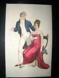Le Beau Monde 1807 H/Col Regency Fashion Print. Fashionable Couple