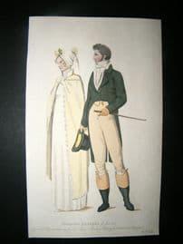 Le Beau Monde 1807 H/Col Regency Fashion Print. Morning Dresses. Couple