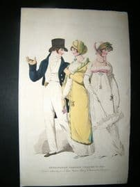 Le Beau Monde 1808 H/Col Regency Fashion Print. Kensington Garden Dresses