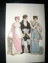 Le Beau Monde 1809 H/Col Regency Fashion Print. Male & 2 Ladies