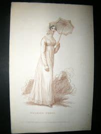 Le Beau Monde 1809 H/Col Regency Fashion Print. Walking Dress