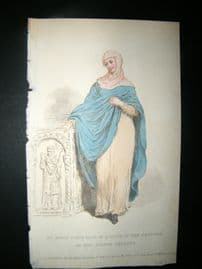 Le Beau Monde 1809 HC Regency Fashion Print. Lady of quality in 8th Cent Costume