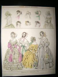 Le Beau Monde 1840 Hand Col Fashion Print 04