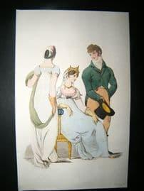 Le Beau Monde C1808 H/Col Regency Fashion Print. Gentelman & Ladies