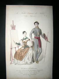 Le Follet 1834 Hand Coloured Fashion Print 19. Lady & Gentleman Artists