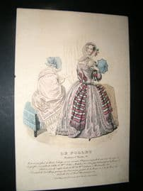 Le Follet C1840's Hand Coloured Fashion Print 851