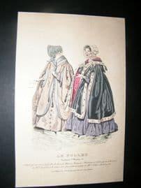 Le Follet C1840's Hand Coloured Fashion Print 884