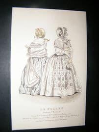 Le Follet C1850's Hand Colored Fashion Print 915A